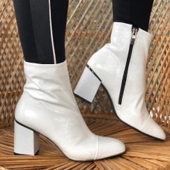 Perlato Ladies White Patent Ankle Boots