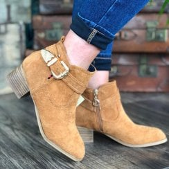 Escape Ladies Springdale Tan Suede Heeled Ankle Boot