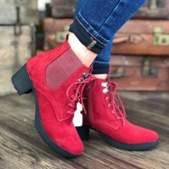 Jana Ladies Red Lace Up Ankle Boots