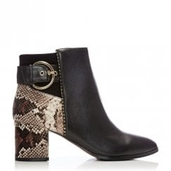 Moda In Pelle Marlee Black And Snake Print Ankle Boots