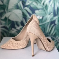Millie & Co Darby Pointed Court Shoe - Beige Knit