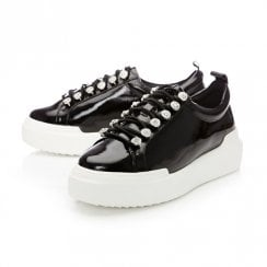 Moda In Pelle Alejandra Black Patent Leather Trainer