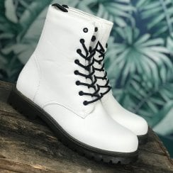 Millie & Co White Biker Lace Up Boot