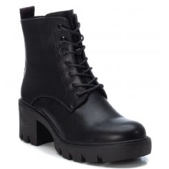 Xti Ladies Black Chunky Laced Ankle Boot