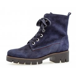 Gabor Ladies Navy Suede Cleated Sole Boot