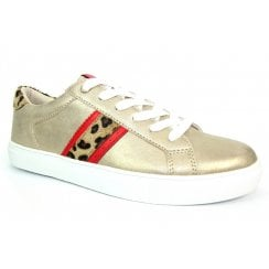 Lunar Ladies Macy Gold/Red Leopard Trainers