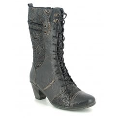 Remonte Ladies Black Lace Up Mid Calf Heeled Boots - D8791-03