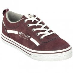Mustang Ladies Bordo Suedette Lace Up Trainer