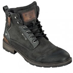 Mustang Mens Charcoal Lace Up Ankle Boots