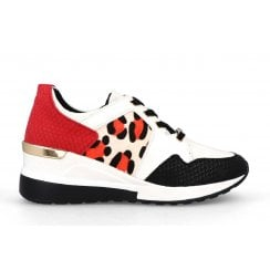 Menbur Womens Red Leopard Wedge Trainers