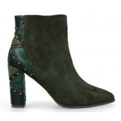 Menbur Womens Green Suede Ankle Boots