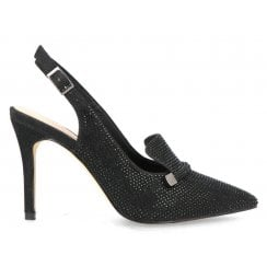 Menbur Black Diamonte Sling Back Court