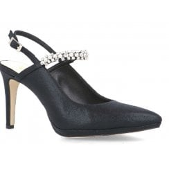 Menbur Black Diamonte Strap Sling Back Court