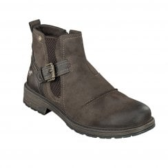Mustang Mens Brown Nubuck Ankle Boot with Buckle over Gusset