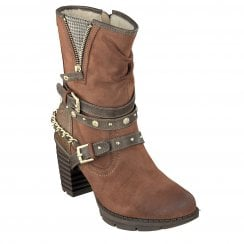 Mustang Ladies Brown Chunky Heeled Boot