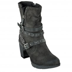 Mustang Ladies Dark Grey Crocodile Insert Chunky Heeled Boots