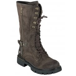 Mustang Ladies Dark Brown Mid Calf Biker Boots