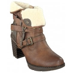 Mustang Ladies Tan Fur Ankle Boots