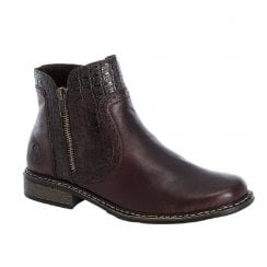Rieker Ladies Brown Ankle Boots with Croc Detailing
