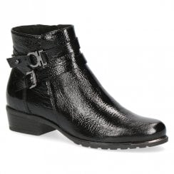 Caprice Black Soft Patent Ankle Boot