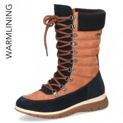 Caprice Tan and Navy Water Resistant Calf Length Boot