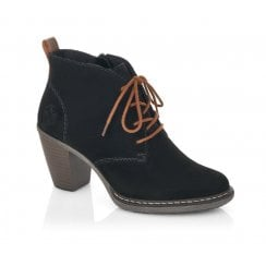 Rieker Suede zip up ankle boot with faux fur lining and laces.