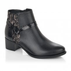 Remonte Ladies Black Low Block Heel Ankle Boots With Snake Detailing