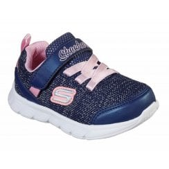 Skechers Girls Infant Comfy Flex Moving On MACHINE WASHABLE Navy and Pink Glitter Trainer