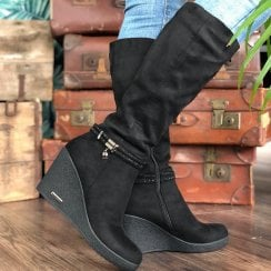 Redz Ladies Black Suede Wedged Long Boots