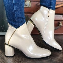 Kate Appleby Keiss Cream Patent Ankle Boots