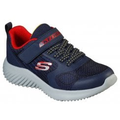Skechers Boys Bounder Gorven MACHINE WASHABLE Navy and Red Trainer