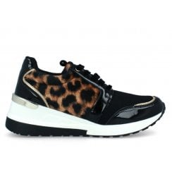 Menbur Womens Black/Leopard Wedged Trainers