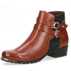 Caprice Ladies Tan and Navy Chelsea Boot