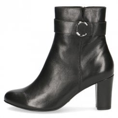 Caprice Ladies Black Leather Heeled Ankle Boots