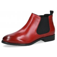 Caprice Ladies Rosso Nappa Red Chelsea Boots