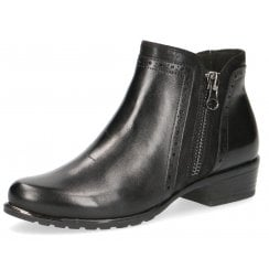Caprice Ladies Black Leather Detailed Ankle Boot