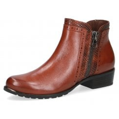 Caprice Ladies Brown with Snake detailing Ankle Boots