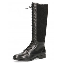 Caprice Ladies Black Calf-Length Zip Up Boot