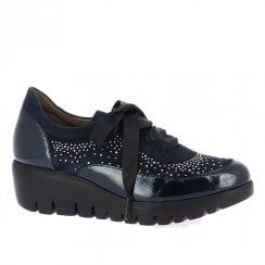 Wonders Navy Patent Wedge Shoe With Embellishment
