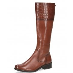 Caprice Ladies Brown Calf-Length Zip Up Boot
