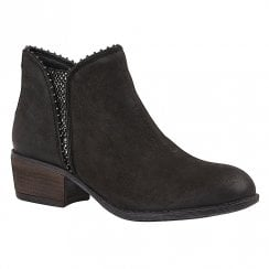 Lotus Ladies Black Snake Leather Ankle Boots