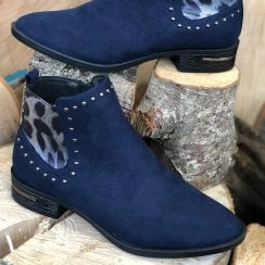 Lotus Ladies Lolita Navy Suede Studded Ankle Boots