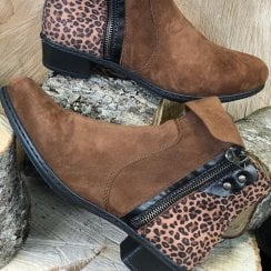 Rieker Tan and Leopard Ankle Boots
