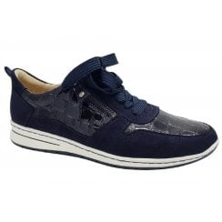 Ara Ladies Sapporo Navy and Animal Print Lace-Up Trainer
