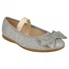 Clarks Kids Dance Bow Mary Jane Silver Glitter Shoes (F Width)