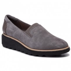 Clarks Womens Sharon Dolly Grey Suede Wedged Shoes