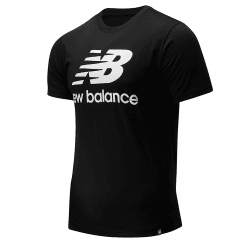 New Balance Mens Essentials Stacked Logo Tee Black T-Shirt