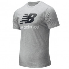 New Balance Mens Essentials Stacked Logo Tee Grey T-Shirt