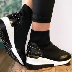 Menbur Womens Fronte Black Wedged Sock Fit Trainers