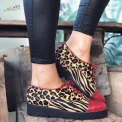 Daniela Ladies Leopard Zebra Print Faux Pony Hair Shoe